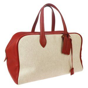 HERMES VICTORIA 43 Travel Hand Bag Beige Red Toile